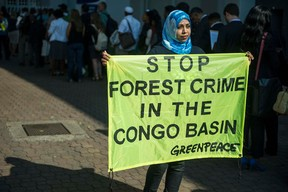 She goes it alone... Photo credit: AFP/Mujahid SAFODIEN  Photos: Protest at World Forestry Congress in Durban Greenpeace1