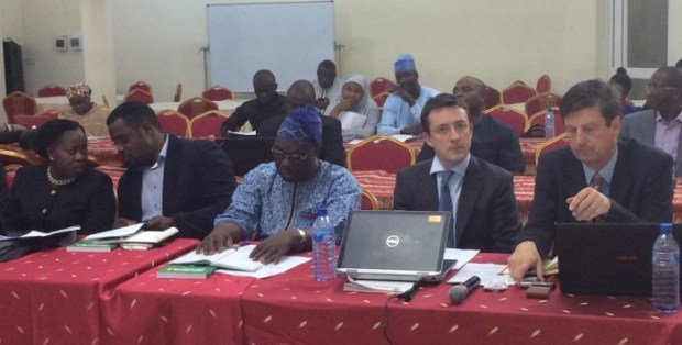 L-R: Chioma Amudi (Department of Climate Change), James Chidi Okeuhie, Prof Olukayode Oladipo, Iain Morrow and Hans Velrome, during the national stakeholders consultative and validation workshop in Abuja, on Friday, September 18, 2015