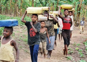 In Uganda and several other developing countries, children and women are the main collectors of domestic water. They often walk long distances to fetch water.