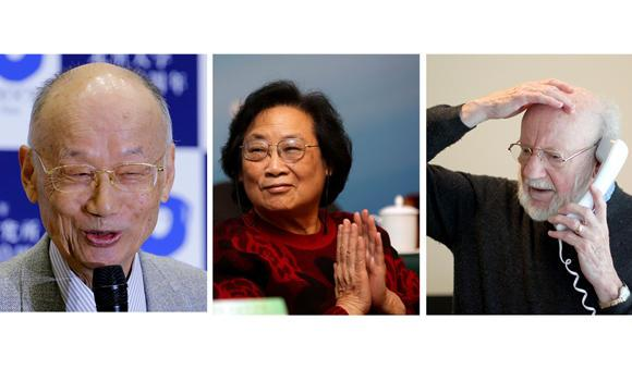 Left to right: Satoshi Omura, Tu Youyou and William C. Campbell. Photo credit: arabnews.com  Scientists who developed malaria, elephantiasis drugs win Nobel prize for medicine Nobel