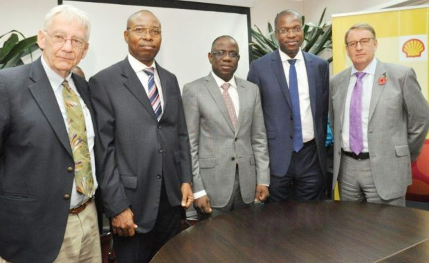 L-R: Director, Project Gaia International, USA, Mr. Harry Stokes; Managing Director, Project Gaia Prospects Limited, Mr. Joe Obueh; Managing Director, Shell Nigeria Exploration and Production Company, Mr. Bayo Ojulari; General Manager, External Relations, Shell, Mr. Igo Weli; and the General Manager, Production, Shell Nigeria, Mr. David Martin, at the signing of a partnership agreement for a pilot study on the use of (M)Ethanol clean cookstoves, at the SNEPCo office, Lagos… on Friday.  Shell promotes clean cookstoves in drive for safer cooking methods Methanol