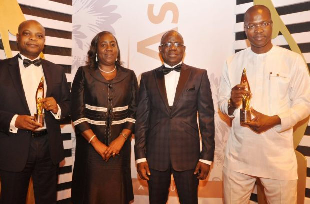 L-R: Vice President Human Resources of Shell in Nigeria and sub-Saharan Africa, Mr. Olukayode Ogunleye; Development Manager, Offshore Assets, Mrs. Beatrice Spaine; Managing Director, Shell Nigeria Exploration and Production Company, Mr. Bayo Ojulari; and General Manager External Relations, Mr. Igo Weli, at the Social Enterprise Report and Awards ceremony in Lagos... on Saturday.