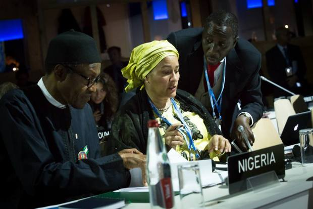 President Buhari with Minister of Environment Mrs Amina Ibrahim Mohammed and National Security Adviser Maj. Gen. Babagana Monguno Rtd shortly before addressing the UN Climate Change Conference COP 21, in Paris, France on 30th Nov 2015  Photos: Buhari addresses global leaders at COP21 Buhari 1