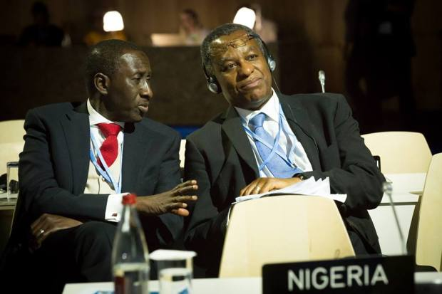 National Security Adviser Maj. Gen. Babagana Monguno Rtd and Minister of Foreign Affairs Mr Geoffrey Onyema shortly before President Buhari addressed the UN Climate Change Conference COP 21, in Paris, France on 30th Nov 2015  Photos: Buhari addresses global leaders at COP21 Buhari 4