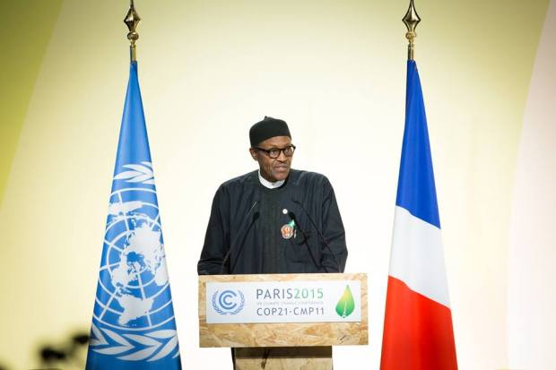 President Buhari addressing the UN Climate Change Conference COP 21, in Paris, France on 30th Nov 2015  Photos: Buhari addresses global leaders at COP21 Buhari