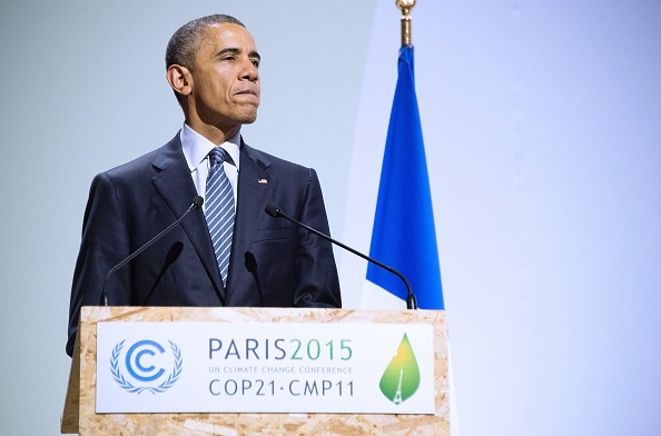 President Barack Obama addressing leaders at COP21 in Paris