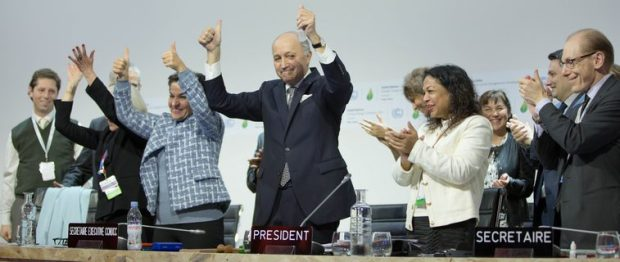 Jubilation greeted the adoption of the Paris Agreement last December in Paris, France. Photo credit: unfccc.int