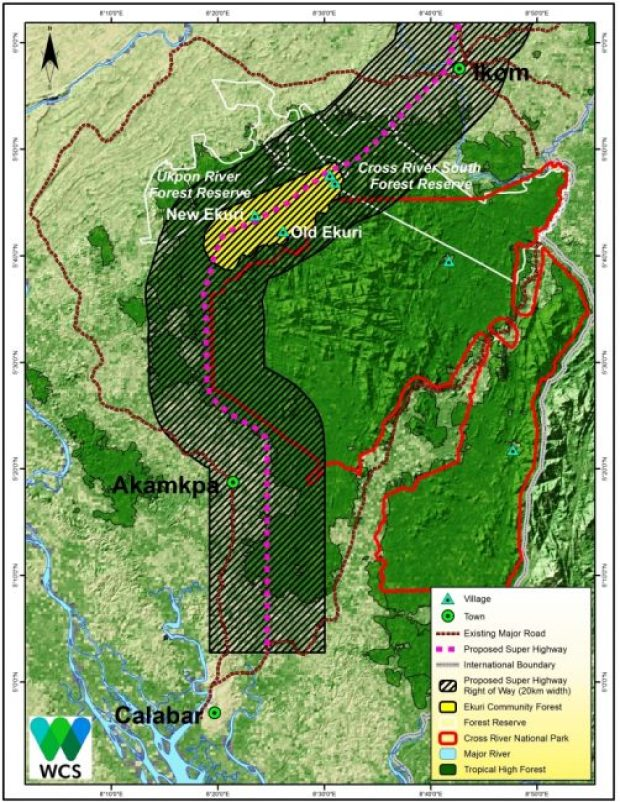 Map showing the southern section of the proposed highway  Super Highway: HOMEF urges CRSG to halt assault on community, forests Proposed Super Highway Map Southern section compressed