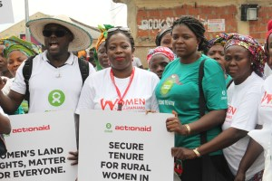 Left to right: Coordinator, Research, Policy and Advocacy, Oxfam, Mr AbdulAzeez Musa; Project Manager, Public Financing for Agriculture, ActionAid International, Ms. Constance Okeke; Female Food Hero, Oxfam, Mrs. Dorcas Azenda; and National President, Small Scale Women Farmers Organisation, Mrs. Serah Yapwa, during the 2016 International  Women's Day and launching of Kilimanjaro Initiative in Abuja, on Thursday, March 10, 2016.  Oxfam seeks easy access to land for women farmers WOMEN FARM 01A 300x200