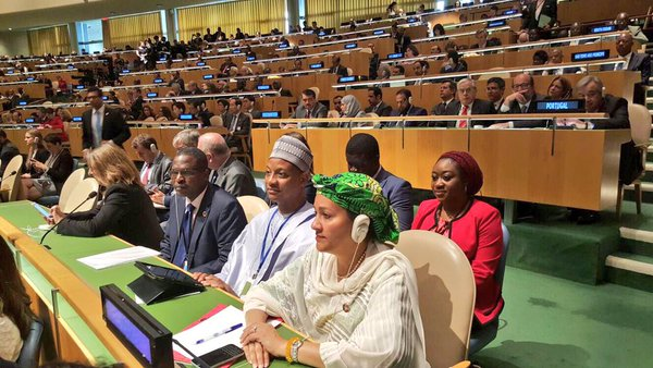 Dr Peter Tarfa, Amb. Usman Sarki and Ms Amina Mohammed