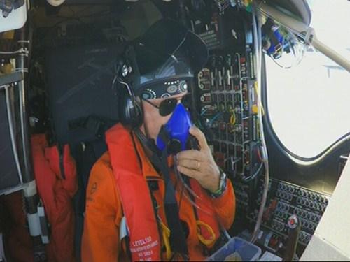 Bertrand Piccard at the controls of Solar Impulse
