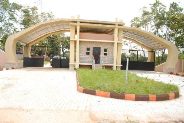 Main gate to the Godfrey Okoye University campus, permanent site, Ugwuomo Nike, Enugu. The institution is hosting the biosafety training