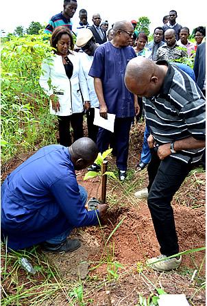 Tree planting with the Vice Chancellor, Professor Chinedum Nwajiuba