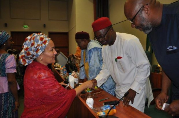 Amina J. Mohammed (Environment Minister) (left) with Sam Onuigbo (Chairman, House Committee on Climate Change)  Images: Legislative roundtable on climate change AssemblyPix3 e1469745144625