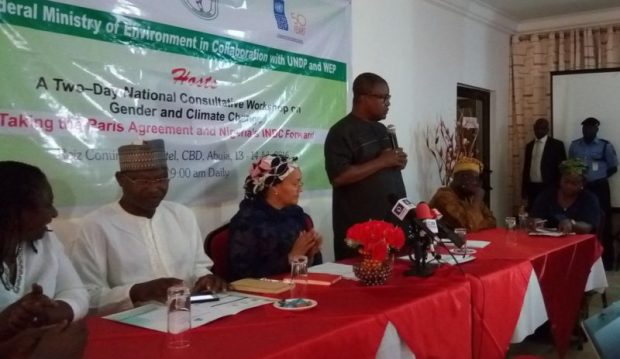 "L-R: Priscilla Achakpa. executive director of the Women Environmental Programme (WEP); Ibrahim Jibril, Minister of State for Environment; Amina Mohhamed, Minister for Environment; Opia Kumah, Resident Representative of the United Nations Development Programme (UNDP) in Nigeria; and prof Olukayode Oladipo of the University of Lagos, Akoka ... at the official opening of the two-day National Consultative Workshop on ""Gender and climate change consultation: Taking the Paris Agreement and Nigeria's INDC forward"", on Wednesday (13 July, 2016) in Abuja"