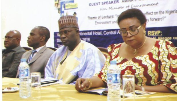 Left to right: Madam Anne Ene-Ita, former Permanent Secretary, Federal Ministry of Aviation; Representative of the Emir of Potiskum, Alhaji Muhammad Yusuf; Representative of the Minister of Environment and DG of NESREA, Dr. Lawrence Anukam; and former Minister of Environment, Sir John Odey at the 7th Environment Outreach Magazine Public Lecture in Abuja recently  Mohammed urges government, activists to synergise in tackling insurgency Outreach Public Lecture Pic 23 e1470889838176