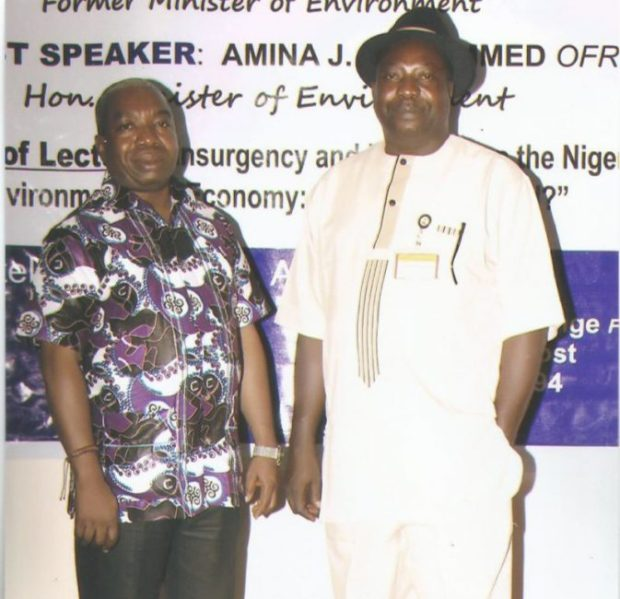 President of MOSOP, Mr. Legborsi Saro Pyagbara (left) with Publisher of the Environment Outreach Magazine, Chief Noble Akenge