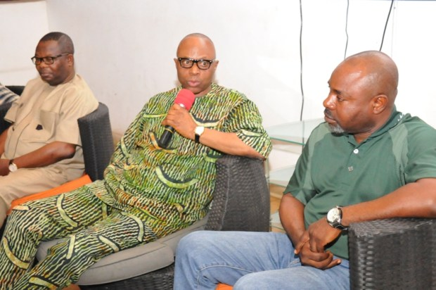 Ondo State Governor, Dr Olusegun Mimiko (middle); Representative of the Federal Minister of Environment, Mr Olayinka Tejuosho (left); and Secretary to Ondo State Government, Dr Rotimi Adelola (right)  Images: Environment Ministry's review panel in Ondo SAM 1