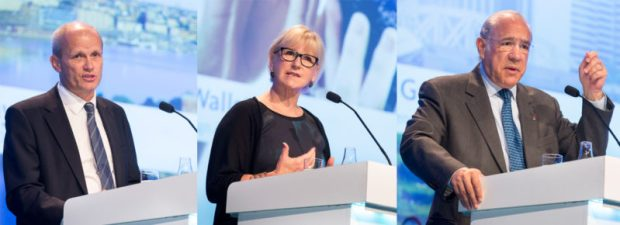 Torgny Holmgren, Executive Director of the Stockholm International Water Institute (SIWI) (left); Sweden's Foreign Minister, Margot Wallström; and Secretary General of the Organisation for Economic Co-operation and Development (OECD), Angel Gurría, separately making presentations at the opening of the 2016 World Water Week in Stockholm, Sweden, on Monday, August 29, 2016