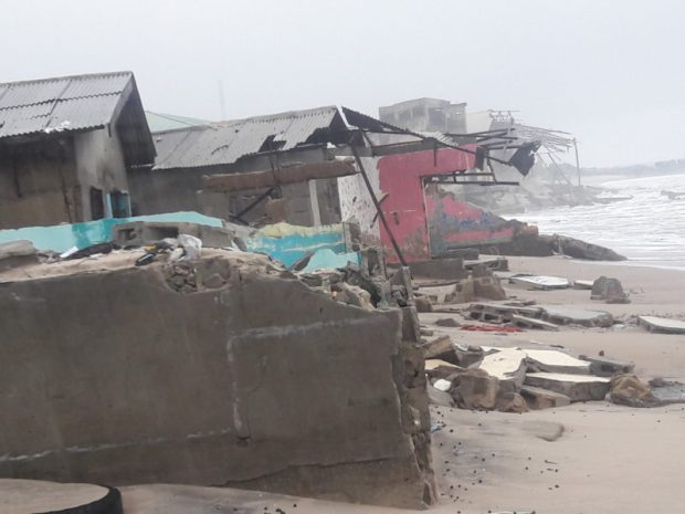 Buildings destroyed by the surging ocean at Okun Alfa, Lagos