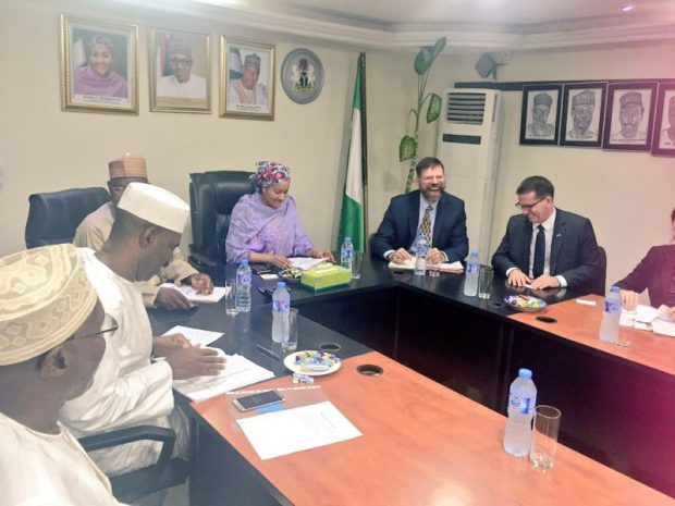 The envoy meets with the ministers and directors, including the ministry's permanent secretary, Dr Bukar Hassan. The smiles and laugh show the warm reception received by Dr. Pershin   Images: US climate envoy, Pershing, in Nigeria Envoy3 e1473307969775