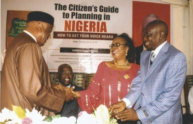Barnabas Gemade, Senate Committee Chairman on Housing & Urban Development (left), with Mrs & Mrs Yacoob Abiodun  Images: Abiodun's book launch, 70th birthday Yacoob2 e1474148640121