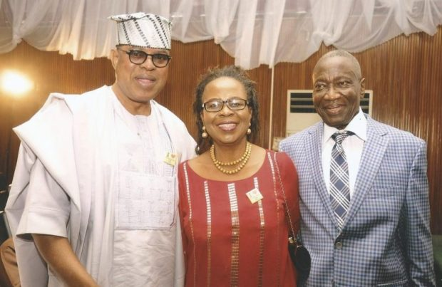 Mr & Mrs Yacoob Abiodun with Gbenga Ashafa, Senate Committee Chairman on Lands Transportation  Images: Abiodun's book launch, 70th birthday Yacoob5 e1474150941851