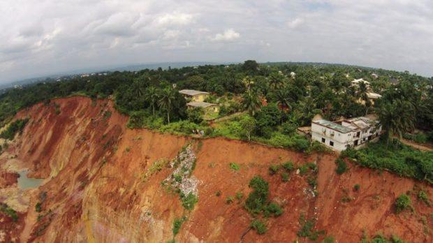 Gully erosion site  Akpabio inaugurates N1.69b erosion control project in Akwa Ibom Anambra e1480376815256