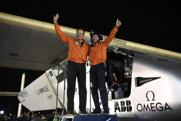 Solar Impulse and crew after flying 40,000km without fuel last July