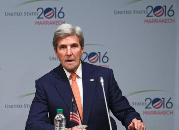 U.S. Secretary of State John Kerry speaks during a session at the COP22 climate change conference in Marrakech, Morocco, November 16, 2016.  Photo credit:  REUTERS/Mark Ralston/Pool
