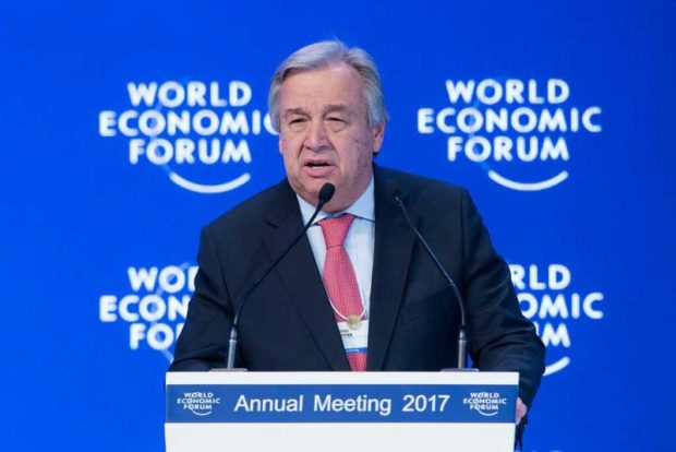 Guterres  Guterres, at Davos, urges businesses to curb climate change, poverty Guterres e1484936714894