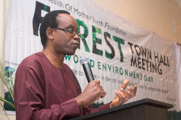 Nnimmo Bassey- Forest Town Hall  Climate crisis and struggle for African food sovereignty Nnimmo welcomes e1496683431182