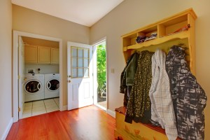 Jackets in laundry room