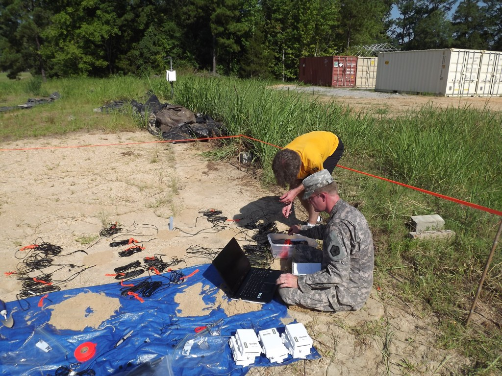 Researcher and army engineer student working on an installation site