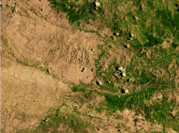 Border between Haiti and the Dominican Republic from an aerial view
