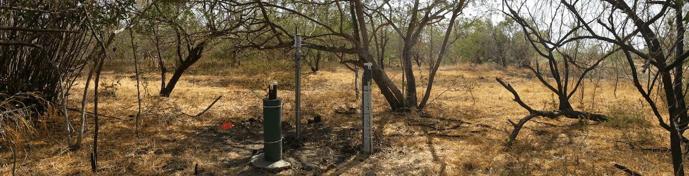 Image of a typical monitoring station set up in a more dry area
