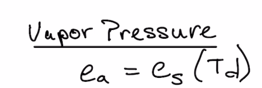 Vapor pressure equation