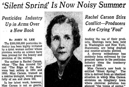 "New York Times headline ""'Silent Spring' Is Now Noisy Summer,"" with portrait of Rachel Carson"
