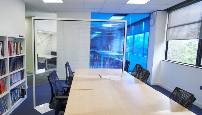 Desk partition for board meetings