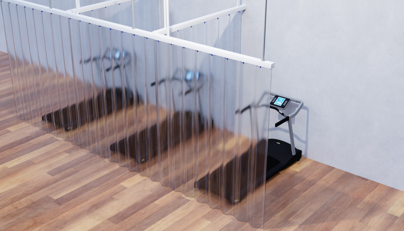 gym equipment with clear divider