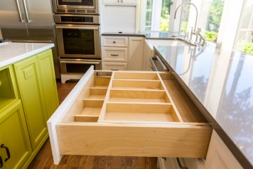 Quartz slab kitchen counter tops, custom drawer organizer