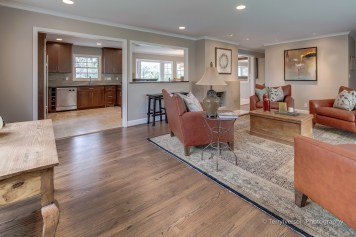 Living room with stained oak hardwood floor