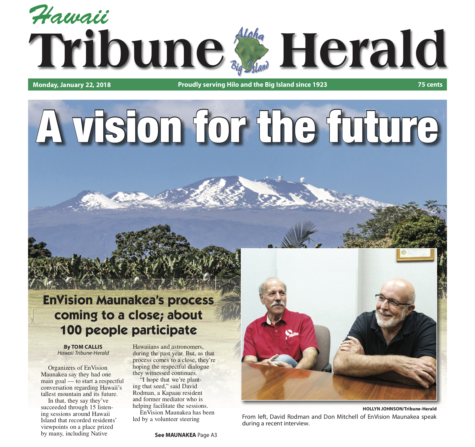 "January 22, 2018 article in Hawaii Tribune Herald, ""A vision for the future"""