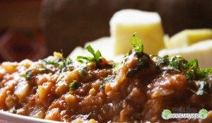 Carrés d'igname et mijoté de veau à la menthe