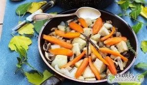 zanahoria, ñame, seta, cebolla, Formación de hielo, tomillo, azúcar, , vainilla, blanqueta