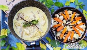 zanahoria, ñame, seta, cebolla, Formación de hielo, tomillo, azúcar, vainilla, blanqueta