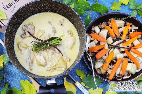 carotte, igname, champignon, oignon, glaçage, thym, sucre, vanille, blanquette
