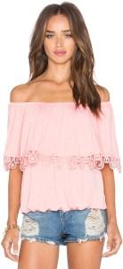 pink off shoulder top enza beauty blogger