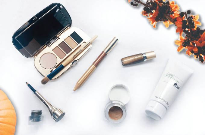 WHAT'S IN MY MAKEUP BAG FOR FALL, makeup bag for fall, makeup, fall, fall 2018, winter, makeup, jane iredale, skin, skin care, beauty, lipstick, eye shadow, bronzer, gold, wine, blue, enza, enza essentials, enza essentials by rucker md, blogger, beauty blog