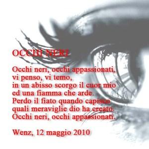 poesia sugli occhi neri